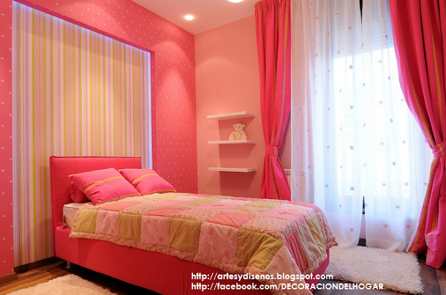 Dormitorio rosa con verde para una chica se orita for Decoracion para pared rosa