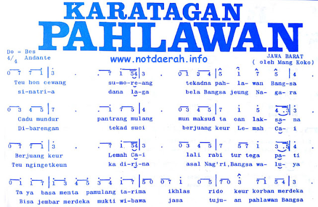 Not Angka Karatagan Pahlawan