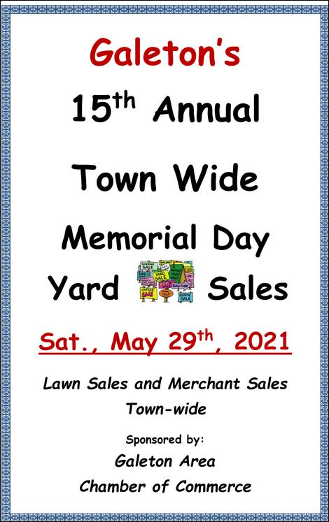 5-29 Town Wide Yard Sales, Galeton