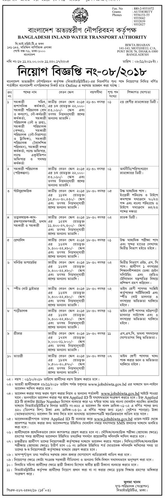 Bangladesh Inland Water Transport Authority (BIWTA) Job Circular 2018