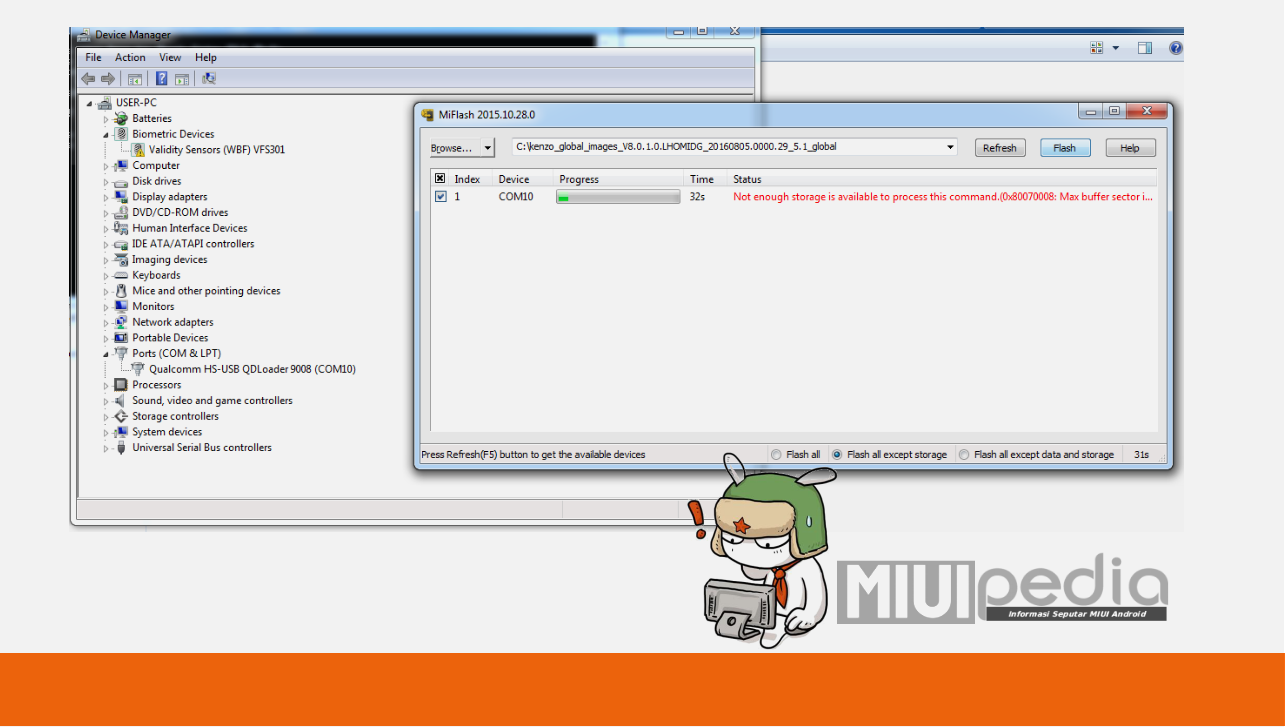 gunakan MiFlashtool terbaru : Mengasi Gagal Flashing ROM
