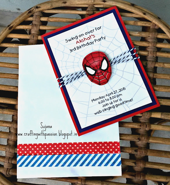 It Is Basically A Printed Card But I Just Wanted To Have Handmade Touch So Out Some Spiderman Masks And Cut Then Added Twine