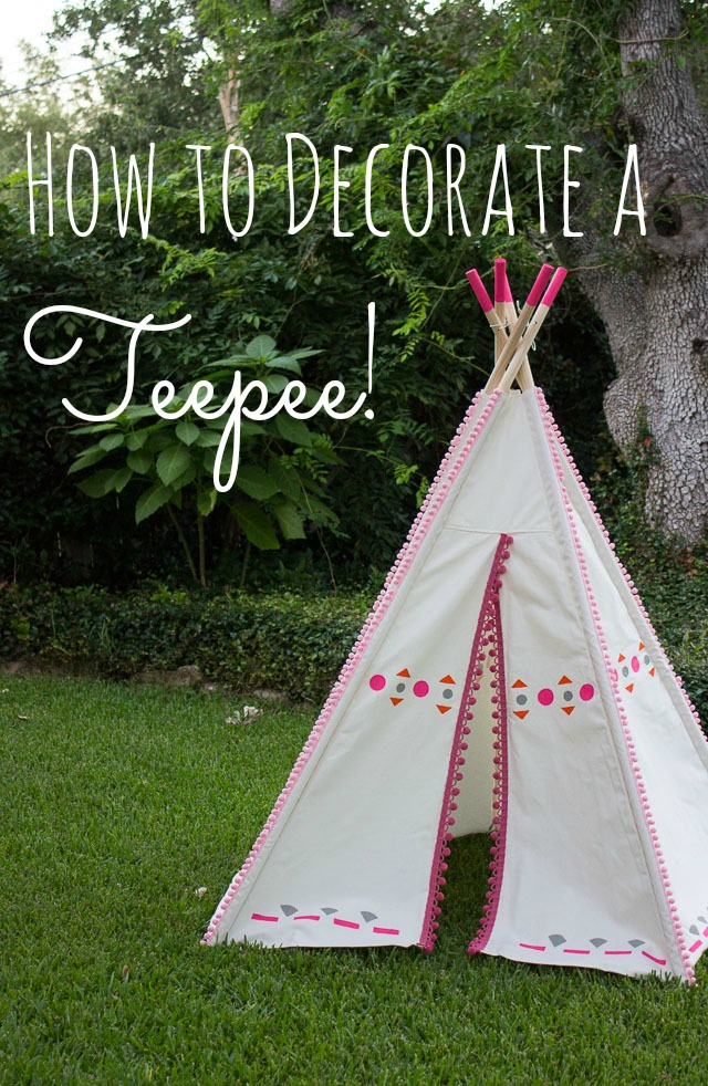 DIY Decorated Teepee - just add pom-pom trim and colorful shapes to make it & DIY Painted Kids Teepee | Design Improvised