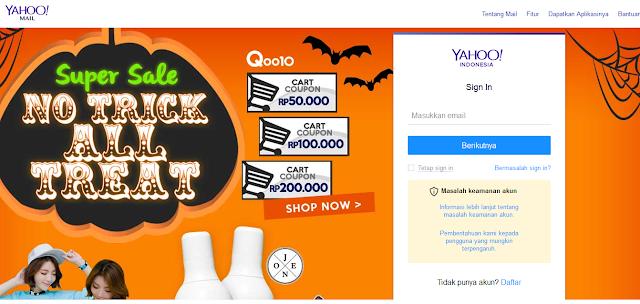 Yahoo Mail dengan Halaman Depan Penuh Iklan