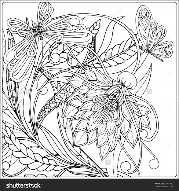 Coloring Book For Adult And Older Children Coloring Page With Decorative  Vintage Flowers And Decorative