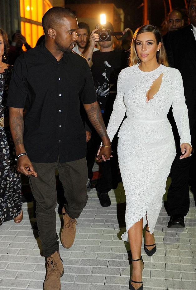 Daily Celebrity Style Kim Kardashian White Lace Cut Out Dress