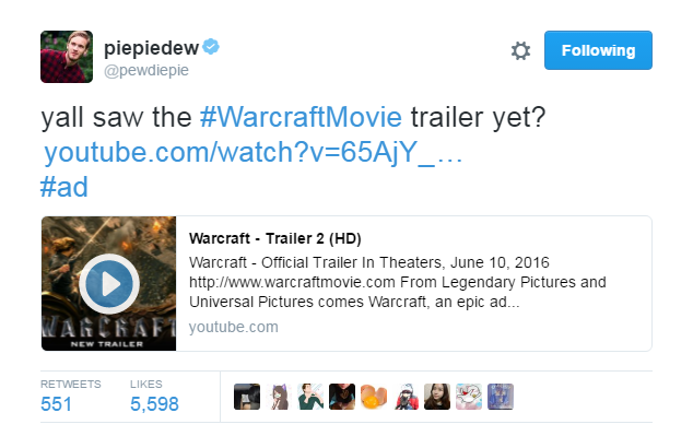 pewdiepie warcraft movie
