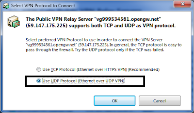 selecting UDP Protocol (Ethernet over UDP VPN)