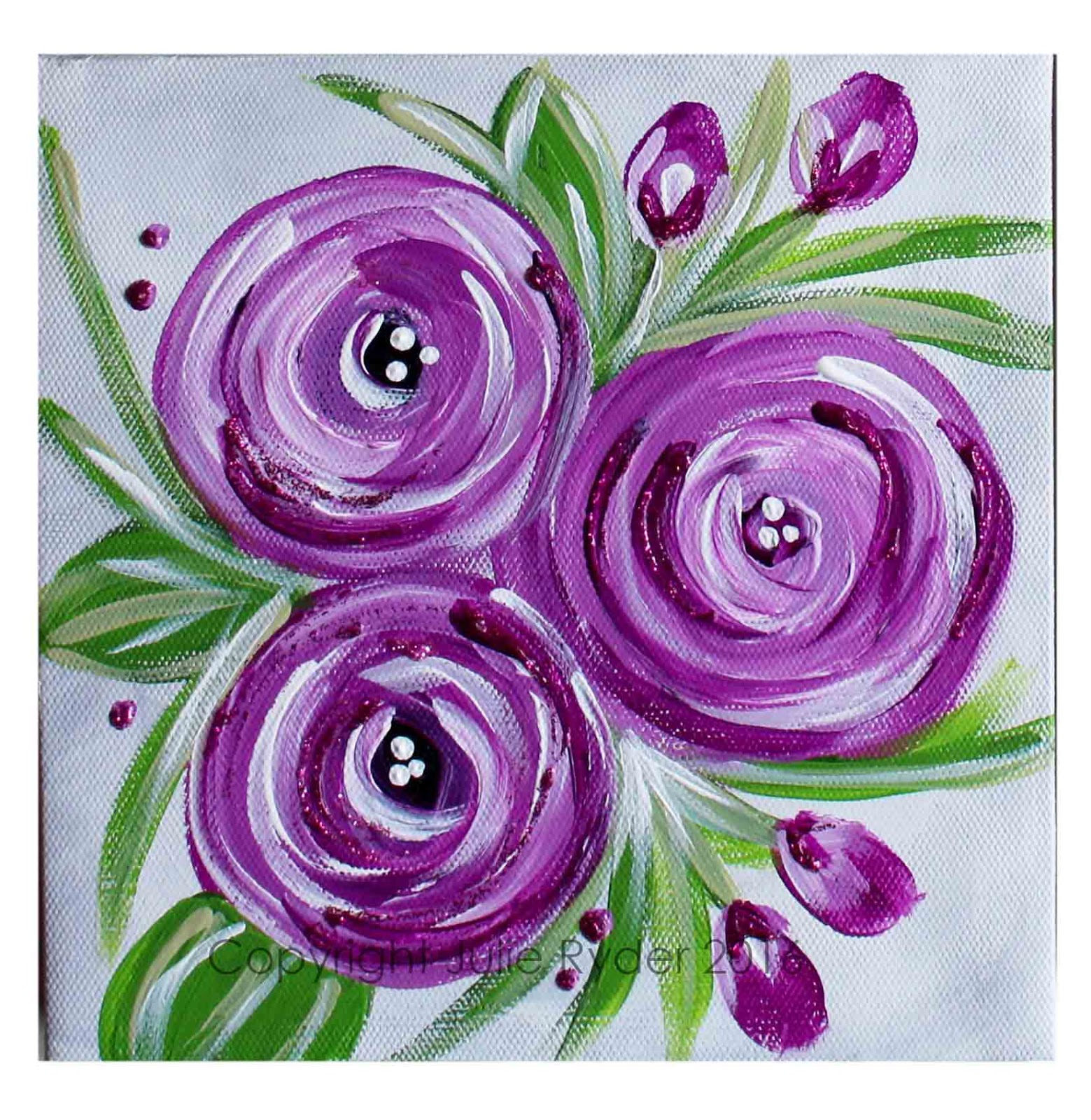 Made by me julie ryder flowers and swirls for Floral painting ideas