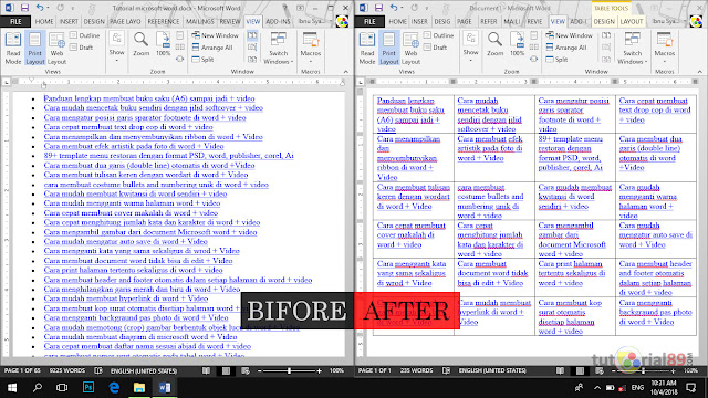 Cara merubah tulisan biasa menjadi table di word (convert text to table) + video