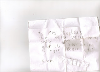 Sorry Note from a child
