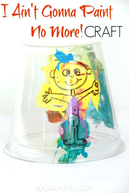 Use this Story telling craft for I Ain't Gonna Paint No More! to host a preschool play date book club with craft!