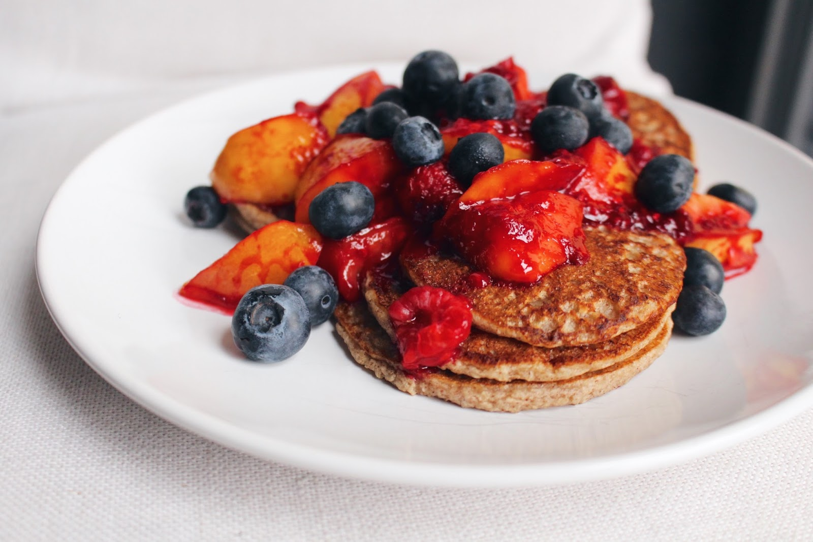 Summer fruit breakfast pancakes