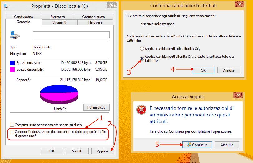 Windows 8 e 8.1 - Eliminare indicizzazione