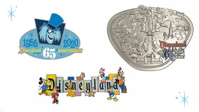 Disneyland Park 65th Anniversary Hat Box Ghost pin, the Disneyland marquee pin, 1955 park map  Merchandise Online