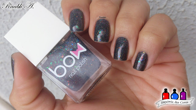 Bow Polish Dark Days, teal, flocado, holográfico, Out of Space Collection, Raabh A.,
