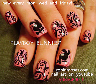 Robin Moses Nail Art: pink and black playboy bunny nails