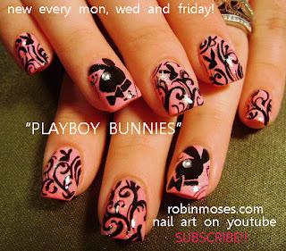 Robin Moses Nail Art: pink and black playboy bunny nails