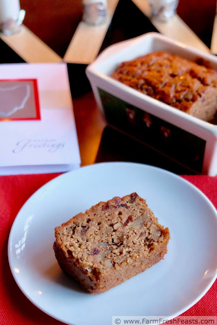 a slice of sweet sausage, cranberry, and walnut bread terrific with coffee or tea, or as a breakfast on the go