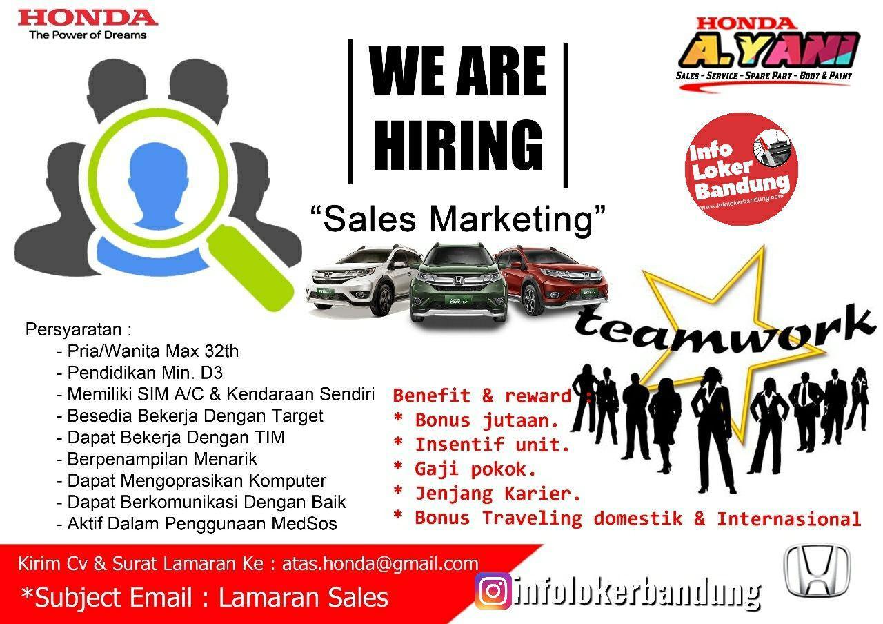 Lowongan Kerja Sebagai Sales Marketing Honda Ahmad Yani Bandung Mei 2019