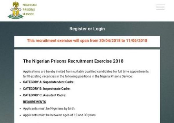 Nigerian Prisons Service Recruitment 2018 - recruit.prisonsportal.com.ng/recruit See How To Apply For 2018 NPS Recruitment