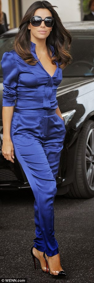 Eva Longoria Blue Satin Blouse Amp Pants Satin Lite House
