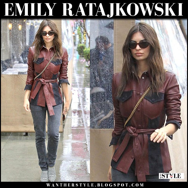 Emily Ratajkowski in burgundy leather jacket, jeans and mules altuzarra street style march 2