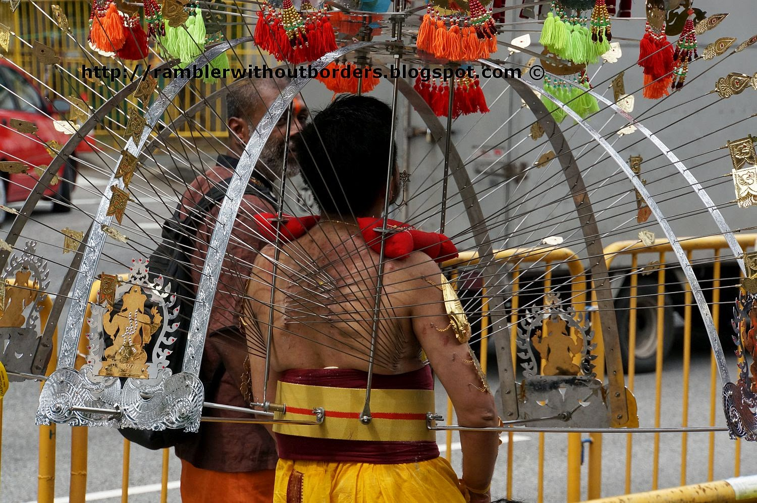 Metal hooks pierced into the body of the kavadi carrying devotee, Singapore
