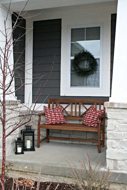 Red Ikea pillows on bench