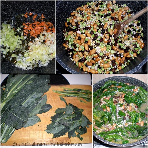 Zuppa di legumi con orzo e cavolo nero