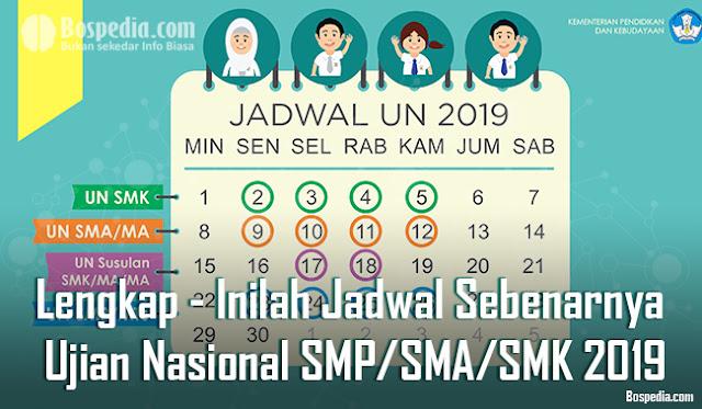 Lengkap - Inilah Jadwal Sebenarnya Ujian Nasional SMP/SMA/SMK 2019