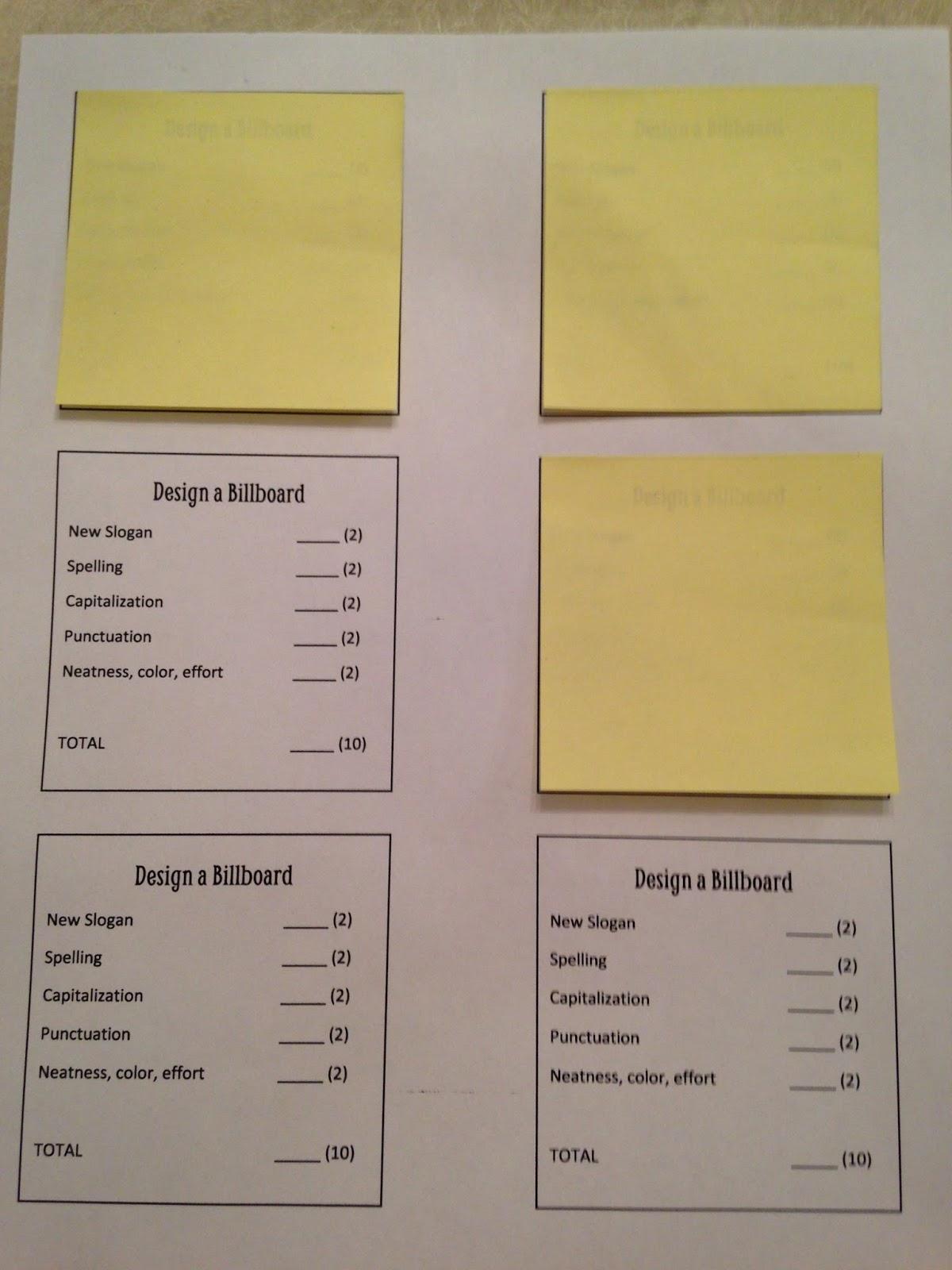lesson deli mini post it rubrics. Black Bedroom Furniture Sets. Home Design Ideas