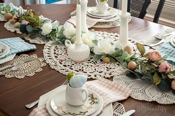 cottage style tablescape for Spring