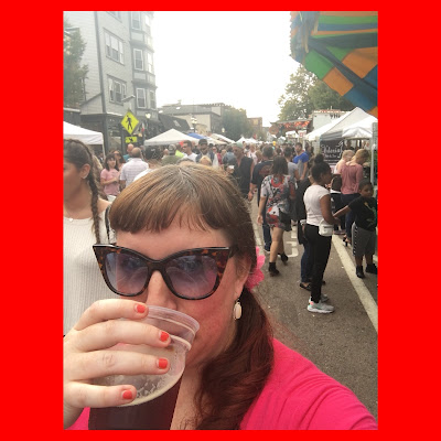Bridget Eileen selfie drinking a beer on Atwells Ave taking advantage of the open container laws on Columbus Day Weekend in Federal Hill