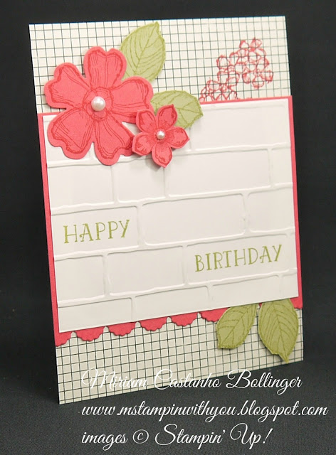 Miriam Castanho-Bollinger, #mstampinwithyou, stampin up, demonstrato, mm, birthday card, flashback dsp, birthday blossoms stamp set, number of years stamp set, pansy punch, petite petals, petite petals punch, brick wall tief, big shot, su