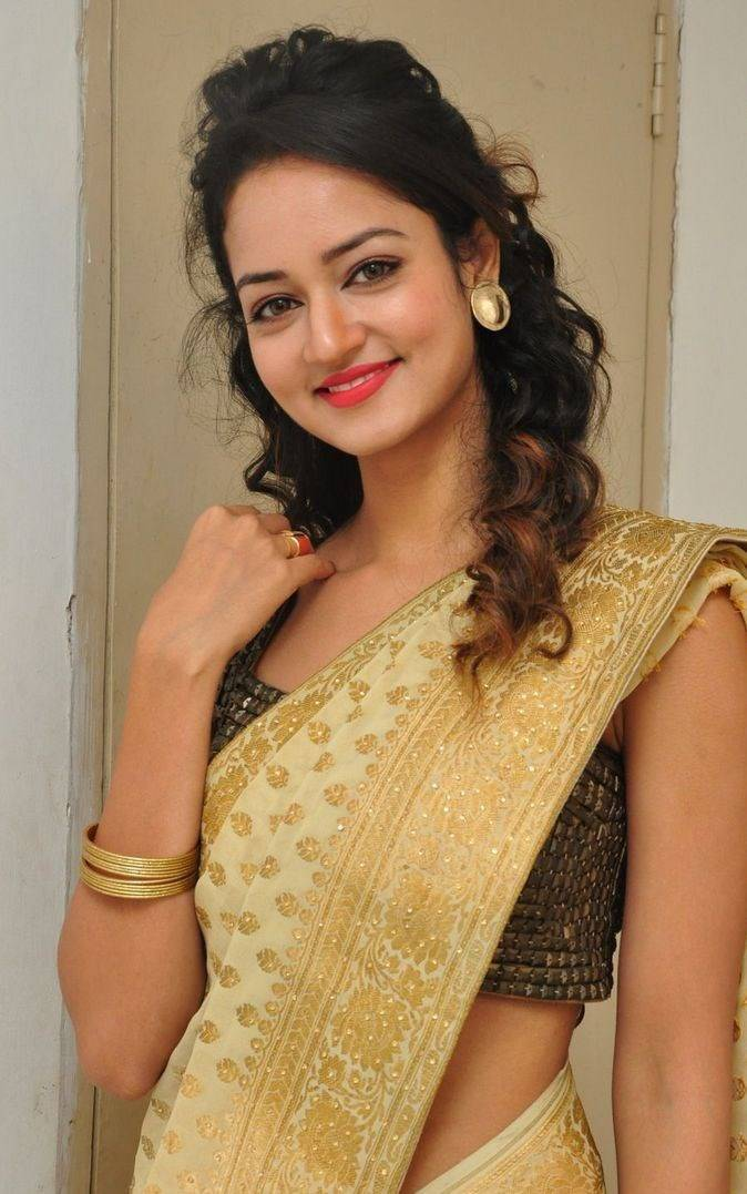 Shanvi Srivastava Hip Navel Photos In Yellow Saree