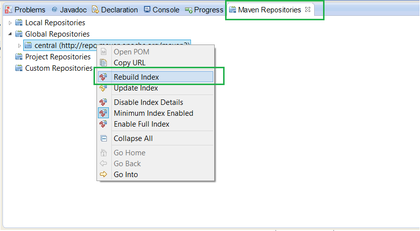 How to open Maven repository View in Eclipse