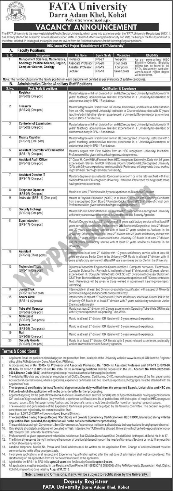 Jobs in FATA University (2018) Darra Adam Khel Kohat