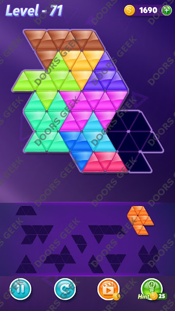 Block! Triangle Puzzle 10 Mania Level 71 Solution, Cheats, Walkthrough for Android, iPhone, iPad and iPod