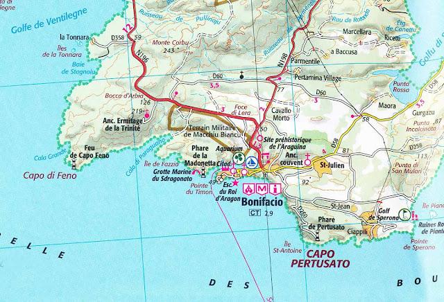 Mapa de Bonifácio – Sul da Ilha de Córsega - França