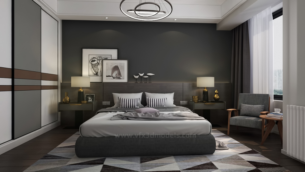 free 3d interior scene 3ds max models vfx 3d models. Black Bedroom Furniture Sets. Home Design Ideas