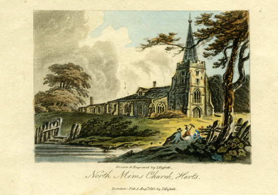 A scan of an aquatint engraving of North Mims Church, Herts, by J. Hassell, published in London in 1816. A colour reproduction, courtesy of local historian Peter Miller