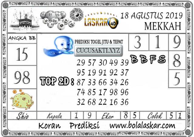 Prediksi Togel MEKKAH LASKAR4D 18 AGUSTUS 2019