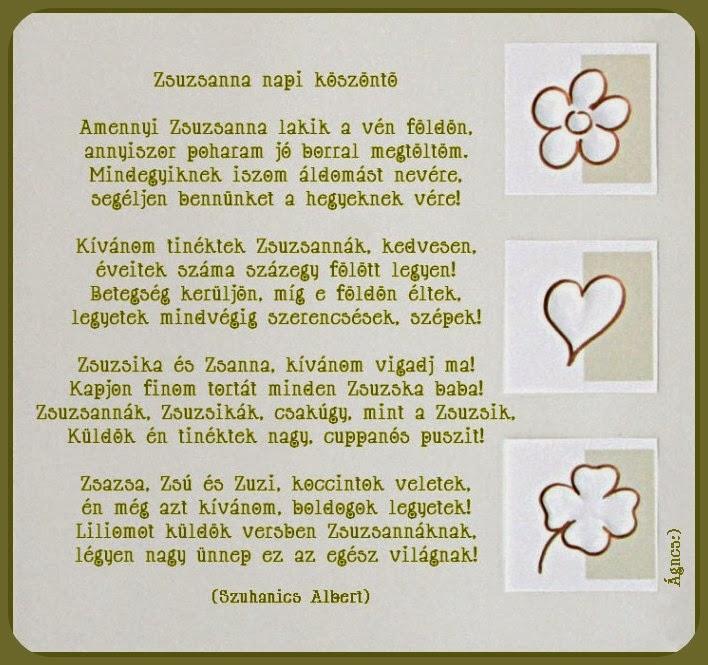 zsuzsanna napi köszöntő vers Zsuzsanna napi köszöntő   verses képeslap,   yaskane Blogja  zsuzsanna napi köszöntő vers