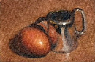 Oil painting of a small silver-plated jug beside a brown egg.