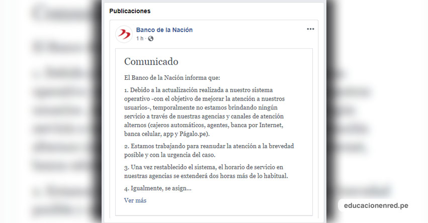 COMUNICADO BANCO DE LA NACIÓN: Suspensión de atención en Agencias y Canales de Atención Alternos (cajeros automáticos, agentes, banca por Internet, banca celular, app y Págalo.pe) www.bn.com.pe
