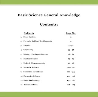Basic Science GK Contents