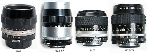 Versions of the Micro-Nikkor 55mm (1961-2008)