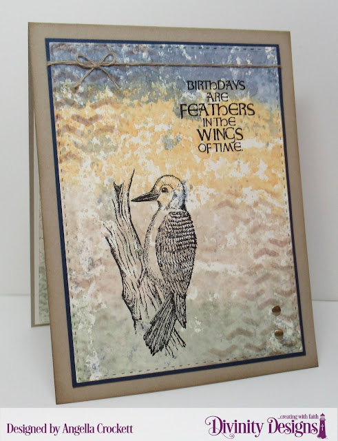 Divinity Designs Arrows Mixed Media Stencil, Double Stitched Rectangles Dies, Woodpecker Stamp Set, Card Designer Angie Crockett