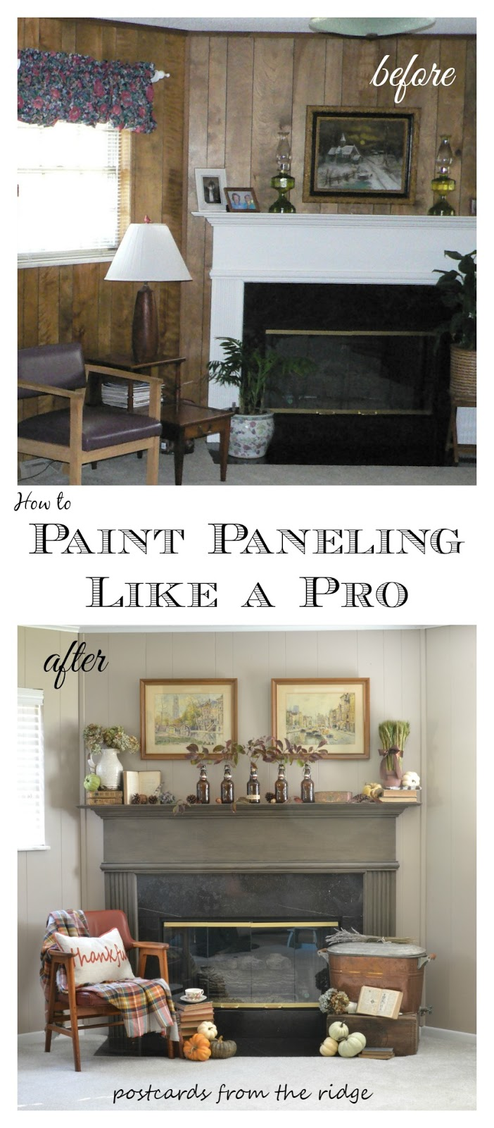 What Color To Paint Paneling Tutorial How To Paint Paneling Like A Pro Postcards From The Ridge
